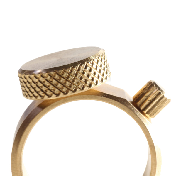 small factory ring flat circle and crown gold