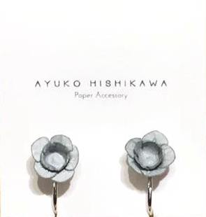 Ayuko fuji pair earrings clip grey