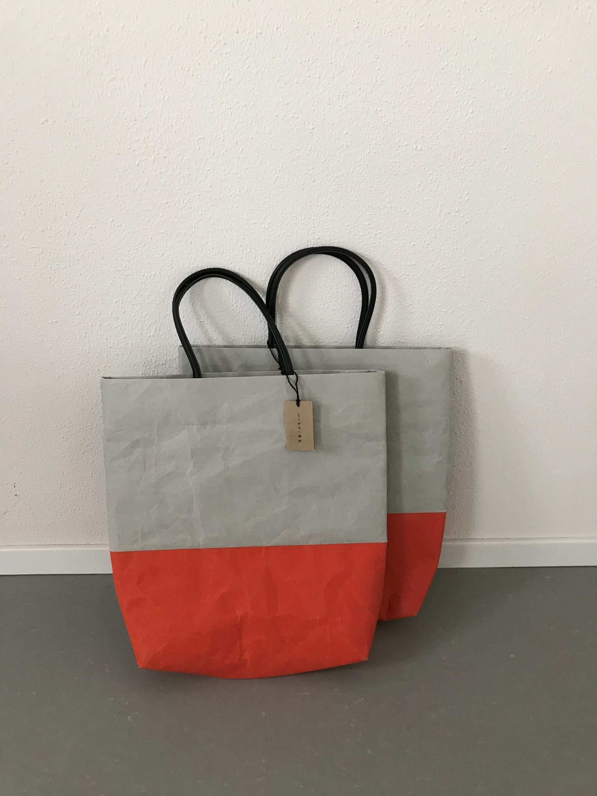 bicolour bag orange grey