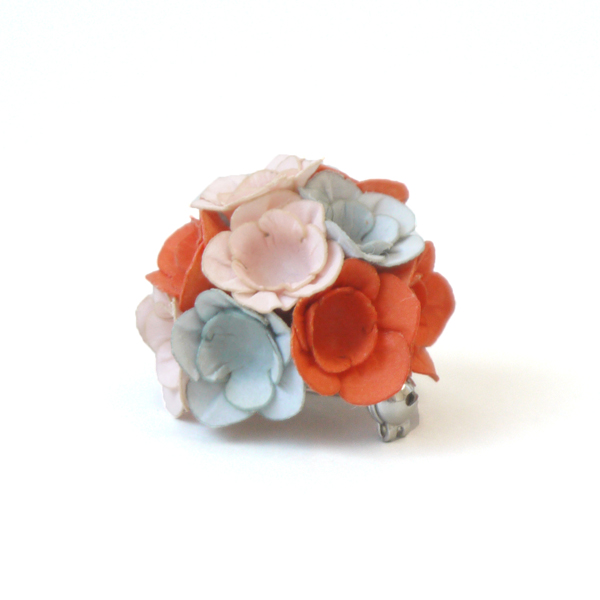 brooch fuji pink grey orange