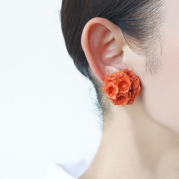 clip earring fuji s orange-a